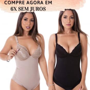Body Cinta Pós Parto Amamentação Modelador com Bojo em Renda - DICA051