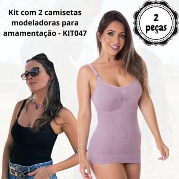 Kit com 2 camisetas modeladoras para amamentação - KIT047